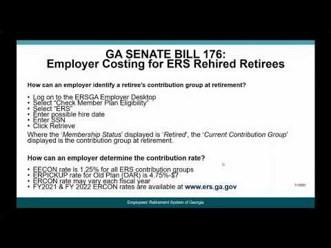 Video: GA SB176 – Employer Costing for ERS Rehired Retirees